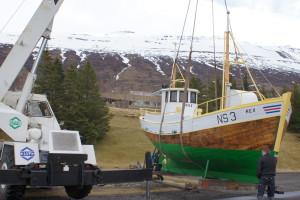 Rex nýmálaður og kominn aftur á sinn stað.