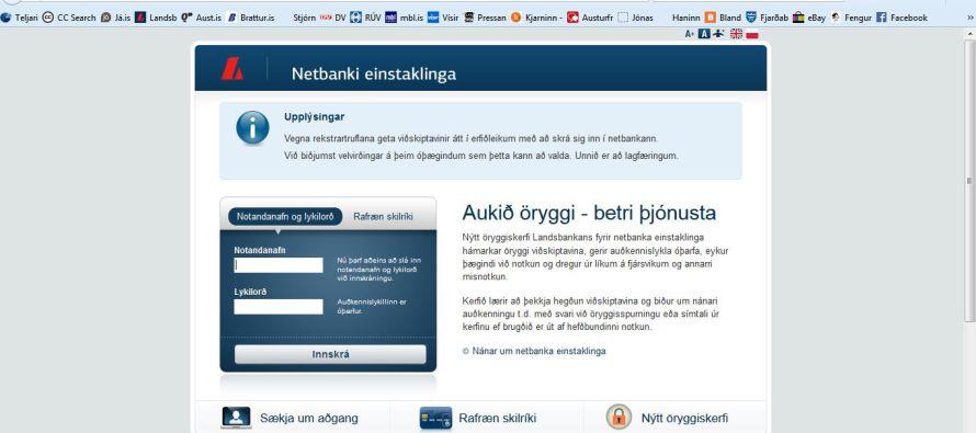 Landsbanki – Heimabanki allra landsmanna, botnfrosinn