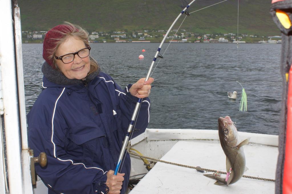 Strax búin að næla í fyrsta fiskinn
