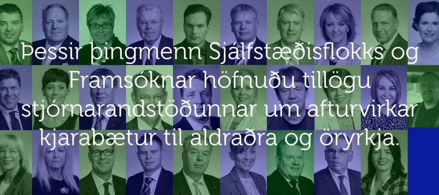 Þessi höfnuðu kjarabótum til aldraðra og öryrkja
